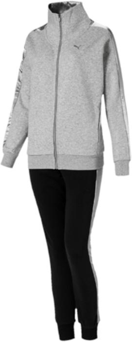 Спортивный костюм женский Puma Sweat Satin Suit, цвет: серый, черный. 59250401. Размер XL (48/50)59250401Верх: модель декорирована вышитым логотипом PUMA. Рукава и внутренняя часть ворота отделаны атласом. Карманы в боковых швах удобны и вместительны. Манжеты и подол отделаны трикотажем в резинку. Изделие имеет удобную стандартную посадкуНиз: модель декорирована вышитым логотипом PUMA. Пояс посажен на подкладку из эластичного материала. По бокам имеются вставки из атласа. Карманы в боковых швах удобны и вместительны. Манжеты отделаны трикотажем в резинку. Штанины заужены.