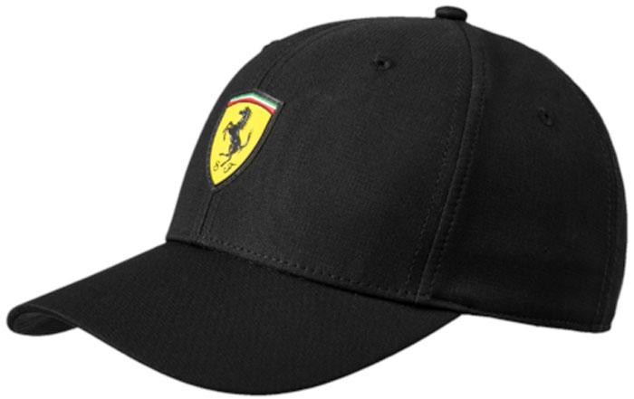 Бейсболка Puma Ferrari Fanwear Baseball Cap, цвет: черный. 02128302. Размер универсальный02128302Стильная кепка-шестиклинка линии PUMA Ferrari снабжена круглыми вентиляционными отверстиями с обшитыми краями для лучшей вентиляции. Диаметр кепки регулируется удобной застежкой сзади с тесьмой и фиксатором из термополиуретана, декорированной логотипом PUMA. Спереди кепка декорирования броской эмблемой Ferrari из термополиуретана.Подходит на обхват головы 54-58 см.