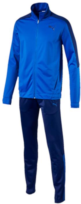 Спортивный костюм мужской Puma Techstripe Tricot Suit op, цвет: голубой, синий. 59263616. Размер S (44/46)59263616Верх: модель декорирована логотипом PUMA, нанесенным методом пигментной печати. Функциональный фирменный покрой рукавов обеспечивает полную свободу движений и легкость сгибания и разгибания руки в локте. Боковые карманы вместительны и удобны. Пояс и манжеты посажены на подкладку из эластичного материала . Изделие имеет удобную стандартную посадку. Низ: модель декорирована логотипом PUMA, нанесенным методом пигментной печати. Пояс из эластичного материала снабжен затягивающимся шнуром для лучшей посадки по фигуре. Изделие имеет удобную стандартную посадку, но при этом штанины с манжетами заужены, что в сочетании со вставками контрастного цвета придает модели оригинальный облик.