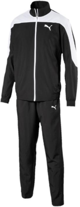 Спортивный костюм мужской Puma Evostripe Woven Suit op, цвет: черный. 59264401. Размер L (48/50)59264401Спортивный костюм от Puma состоит из толстовки и брюк.Толстовка декорирована логотипом Puma, нанесенным методом пигментной печати. Функциональный фирменный покрой рукавов обеспечивает полную свободу движений и легкость сгибания и разгибания руки в локте. Боковые карманы вместительны и удобны. Пояс и манжеты посажены на подкладку из эластичного материала. Изделие имеет комфортную стандартную посадку.Брюки декорированы логотипом Puma, нанесенным методом пигментной печати. Пояс из эластичного материала снабжен затягивающимся шнуром. Изделие имеет удобную стандартную посадку с зауженными штанинами, что придает модели спортивный силуэт.