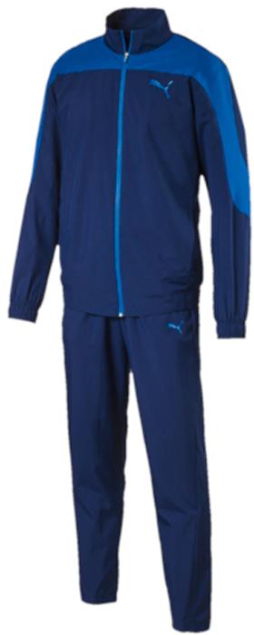 Спортивный костюм мужской Puma Evostripe Woven Suit op, цвет: синий, голубой. 59264461. Размер L (48/50)59264461Спортивный костюм от Puma состоит из толстовки и брюк.Толстовка декорирована логотипом Puma, нанесенным методом пигментной печати. Функциональный фирменный покрой рукавов обеспечивает полную свободу движений и легкость сгибания и разгибания руки в локте. Боковые карманы вместительны и удобны. Пояс и манжеты посажены на подкладку из эластичного материала. Изделие имеет комфортную стандартную посадку.Брюки декорированы логотипом Puma, нанесенным методом пигментной печати. Пояс из эластичного материала снабжен затягивающимся шнуром. Изделие имеет удобную стандартную посадку с зауженными штанинами, что придает модели спортивный силуэт.