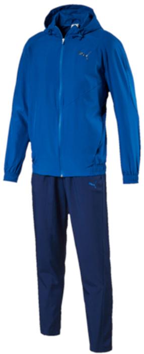 Спортивный костюм мужской Puma Vent Hooded Woven Suit op, цвет: голубой, синий. 59264911. Размер M (46/48)59264911Спортивный костюм от Puma состоит из толстовки и брюк.Толстовка декорирована логотипом Puma, нанесенным методом пигментной печати. Подкладка полностью выполнена из сетчатого материала. Также имеются вставки из сетчатого материала на лицевой части. Функциональный фирменный покрой рукавов обеспечивает полную свободу движений и легкость сгибания и разгибания руки в локте. Боковые карманы вместительны и удобны. Пояс и манжеты посажены на подкладку из эластичного материала. Детали на спине из эластичной ячеистой тесьмы препятствуют перегреву и делают модель очень эргономичной. Изделие имеет удобную стандартную посадку.Брюки декорированы логотипом Puma, нанесенным методом пигментной печати. Пояс из эластичного материала снабжен затягивающимся шнуром. Вставки из сетчатого материала в области колена способствуют полной свободе движений. Изделие имеет удобную стандартную посадку с зауженными штанинами.