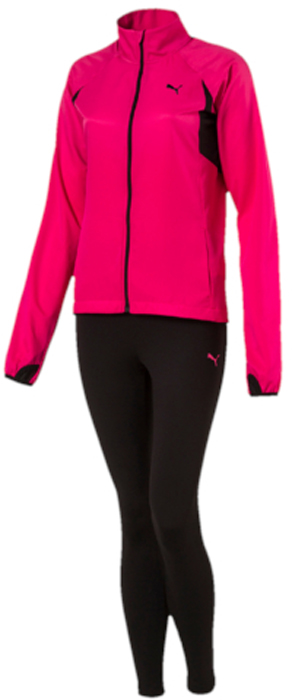 Спортивный костюм женский Puma Active Yogini Woven Suit, цвет: малиновый, черный. 59331528. Размер S (42/44)59331528Спортивный костюм от Puma состоит из толстовки и брюк.Толстовка декорирована вышитым логотипом Puma. Сзади и под мышками имеются вставки из сетчатого эластичного материала, обеспечивающие полную свободу движений. Карманы в боковых швах удобны и вместительны. Удлиненные манжеты снабжены прорезями для больших пальцев, чтобы кисти рук были прикрыты и надежно защищены от холода. Фасон в обтяжку по фигуре.Брюки декорированы вышитым логотипом Puma. Завышенный пояс подчеркивает все достоинства женской фигуры и обеспечивает комфорт во время тренировки. Фасон в обтяжку по фигуре.