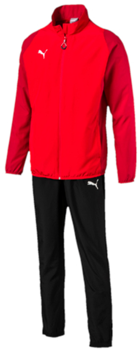 Спортивный костюм мужской Puma ftblTRG Woven Tracksuit, цвет: красный, черный. 65535051. Размер L (48/50)65535051Спортивный костюм от Puma состоит из толстовки и брюк.Толстовка декорирована логотипом Puma, нанесенным на правую сторону груди методом термопечати. Изделие полностью посажено на подкладку. Среди других его отличительных особенностей – удобные боковые карманы и отделка эластичным материалом манжет и подола.Брюки декорированы логотипом Puma, нанесенным на левую штанину методом термопечати. Пояс посажен на подкладку из эластичного материала, а все изделие – на легкую сплошную подкладку. Штанины внизу снабжены застежками молниями. Боковые карманы удобны и вместительны. Фасон в обтяжку по фигуре с зауженными штанинами очень элегантен.