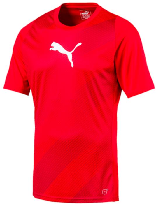 Футболка мужская Puma ftblTRG Graphic Shirt, цвет: красный. 65535551. Размер M (46/48)65535551Модель декорирована логотипом Puma, нанесенным на правую сторону груди методом термопечати. Она изготовлена с использованием высокофункциональной технологии DryCell, которая отводит влагу, поддерживает тело сухим и гарантирует комфорт во время активных тренировок и занятий спортом. Фасон в обтяжку по фигуре оживляется вставками с графическим рисунком. Отделка спины сетчатым материалом обеспечивает отличную вентиляцию и препятствует перегреву.