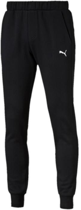 Брюки спортивные мужские Puma ESS Sweat Pants Slim, Fl, цвет: черный. 83826601. Размер XL (50/52)83826601Модель декорирована вышитым логотипом PUMA. Пояс из основного материала изделия посажен на эластичную подкладку и снабжен затягивающимися шнурами. Карманы в боковых швах удобны и вместительны. Нашитая сверху задняя кокетка способствует отличной посадке по фигуре. Манжеты отделаны трикотажем в резинку. Фасон в обтяжку по фигуре очень элегантен.