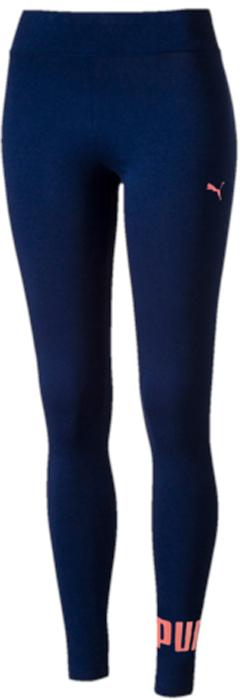 Леггинсы женские Puma ESS No.1 Leggings, цвет: темно-синий, розовый. 83842218. Размер M (44/46)83842218Леггинсы ESS No.1 Leggings W выполнены из хлопка с добавлением эластана. Благодаря приятной на ощупь ткани, тренироваться в них будет очень комфортно. Модель имеет фасон в обтяжку по фигуре. Пояс выполнен из основного материала изделия. Леггинсы декорированы прорезиненным логотипом PUMA, а также вышитой фирменной символикой PUMA.