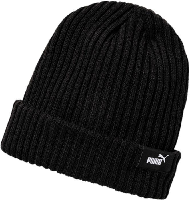 Шапка Puma Style Mid Fit Beanie, цвет: черный. 02127601. Размер универсальный02127601Вязаная двуслойная шапка в резинку с отворотом удобно сидит на голове и декорирована тканым логотипом Puma на отвороте.Подходит на обхват головы 54-58 см.
