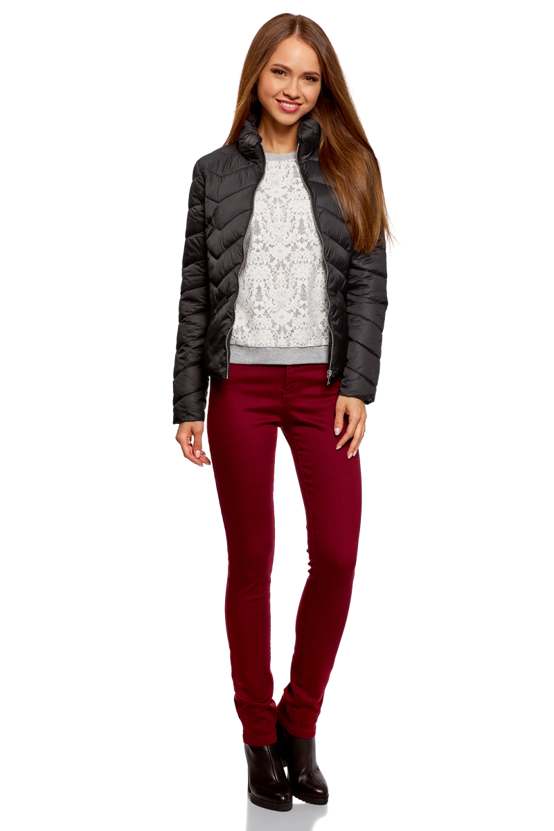 Куртка женская oodji Ultra, цвет: черный. 10203063/18268/2900N. Размер 38-170 (44-170)10203063/18268/2900N