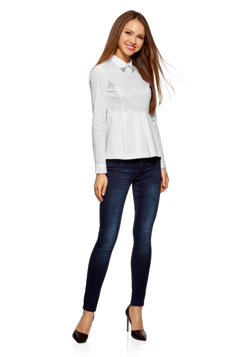 Блузка женская oodji Ultra, цвет: белый. 11400444-2/42083/1000N. Размер 34-170 (40-170)11400444-2/42083/1000N