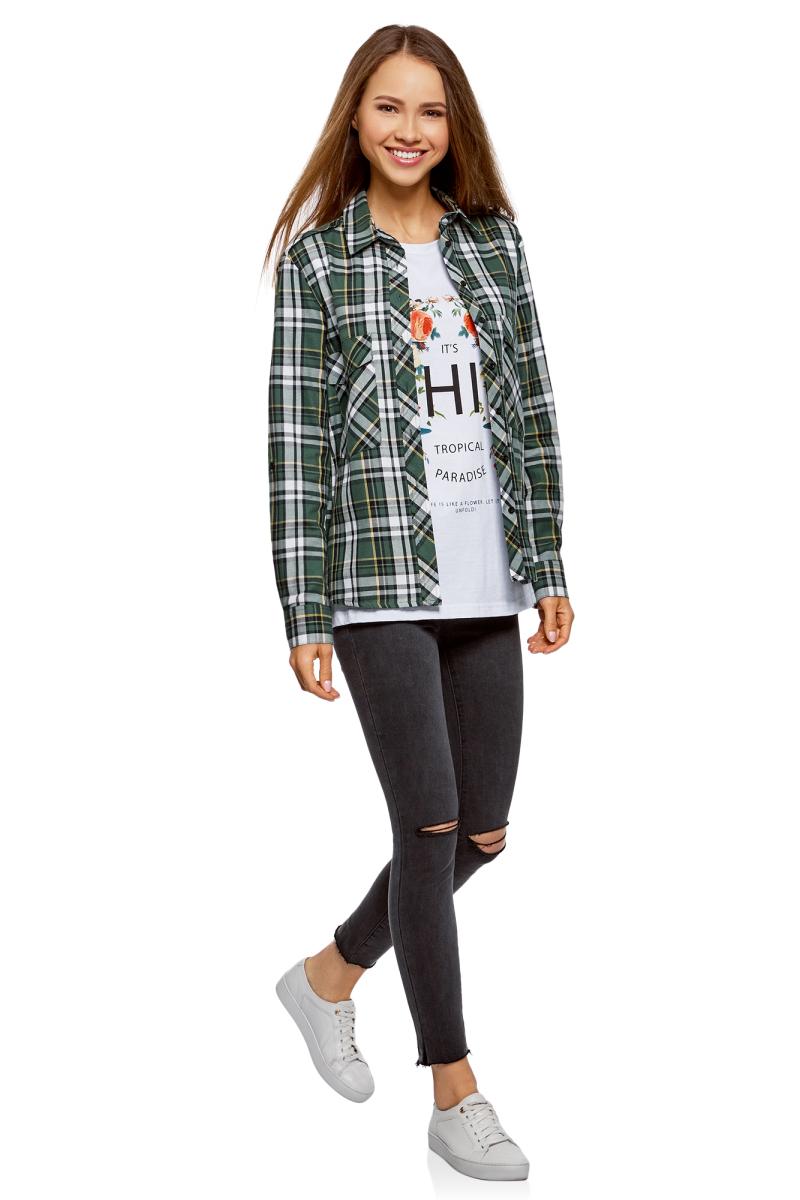 Рубашка женская oodji Ultra, цвет: темно-зеленый, черный. 11411052-1B/42850/6929C. Размер 38-170 (44-170)11411052-1B/42850/6929C