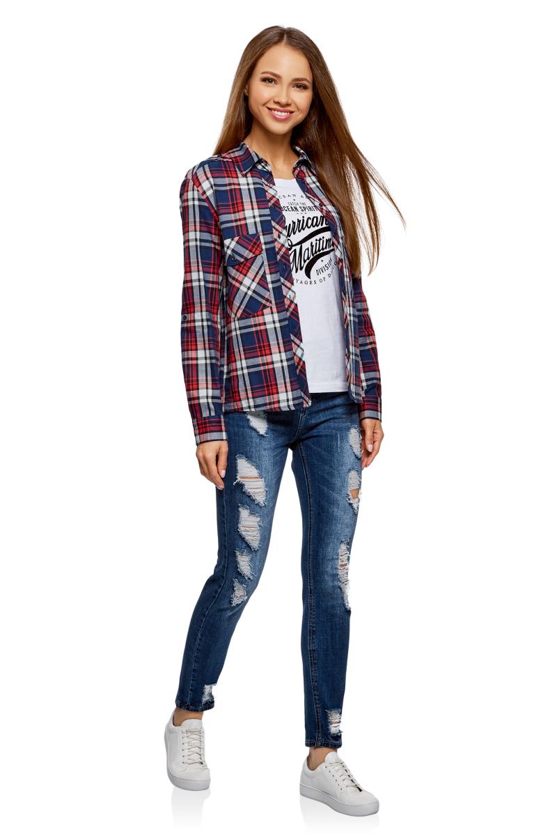 Рубашка женская oodji Ultra, цвет: темно-синий, красный. 11411052-1B/42850/7945C. Размер 40-170 (46-170)11411052-1B/42850/7945C
