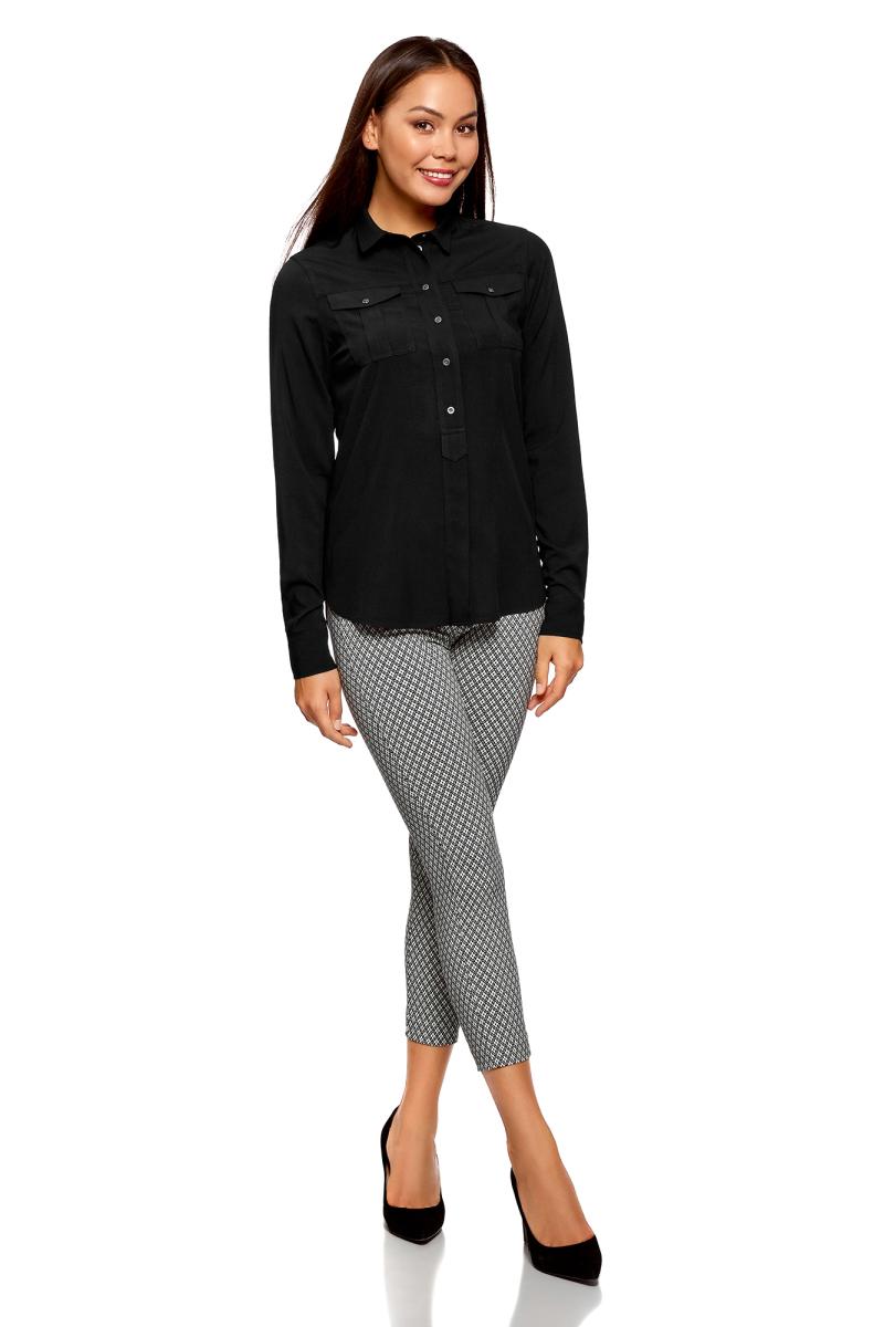 Рубашка женская oodji Ultra, цвет: черный. 11411114-1/47046/2900N. Размер 38-170 (44-170)11411114-1/47046/2900N