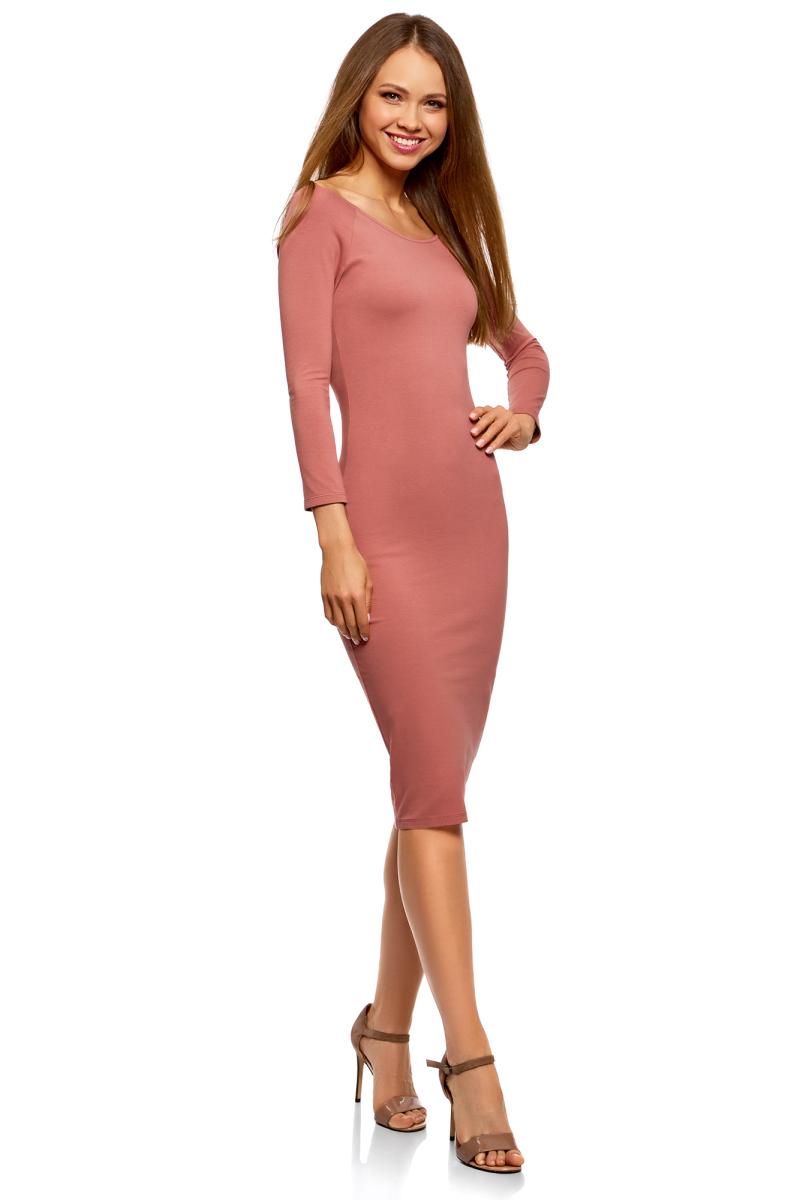 Платье женское oodji Ultra, цвет: карамель. 14017001-6B/47420/4B00N. Размер M (46)14017001-6B/47420/4B00NИзящное трикотажное платье облегающего силуэта с длинными рукавами. Широкий вырез смотрится сексуально и красиво приоткрывает спину. Рукава реглан подчеркивают линию груди. Платье длиной до колен красиво облегает фигуру, акцентируя внимание на бедрах и ногах. Хлопковый трикотаж приятен для тела, дышит и легок в уходе. Благодаря добавлению эластана он слегка тянется и обеспечивает свободу движений, при этом отлично держит форму после стирки. Платье эффектно сидит и отлично смотрится. Стильное сдержанное платье прекрасно подходит для создания женственных повседневных образов. Его можно надеть на свидание, прогулку по городу, встречу с друзьями. Оно прекрасно смотрится с обувью на высоком каблуке. Наряд можно дополнить броскими аксессуарами и украшениями. С ними вы сможете правильно расставить акценты в своем образе. В этом платье вы всегда будете выглядеть стильно и ловить на себе восхищенные взгляды окружающих.