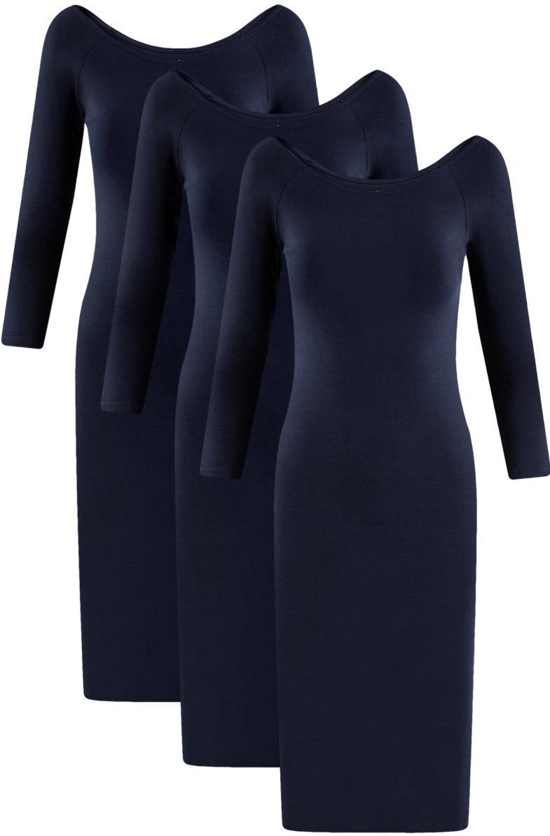 Платье женское oodji Ultra, цвет: темно-синий, 3 шт. 14017001T3/47420/7900N. Размер S (44)14017001T3/47420/7900NКомплект из трех одинаковых платьев облегающего силуэта с длинным рукавом реглан. Модель длиной до колен красиво облегает фигуру, акцентируя внимание на ее изгибах. Широкий вырез красиво открывает спину и ключицы, придавая силуэту хрупкость. Хлопковый трикотаж приятен на ощупь и комфортен в ношении: дышит, не вызывает аллергии. А благодаря небольшой доле эластана платье хорошо тянется и не стесняет движений.Практичный комплект из трех трикотажных платьев – удачное решение проблемы выбора наряда. У вас будет больше возможностей выбрать красивое и удобное повседневное платье в любой обстановке. В нем можно прогуляться, сходить в магазин или в гости. Такое платье подойдет и в качестве элегантной и женственной домашней одежды. Вы всегда будете готовы к незваным гостям. Модель прекрасно смотрится, особенно с красивой обувью и украшениями. В любом из этих платьев вы будете выглядеть обворожительно!