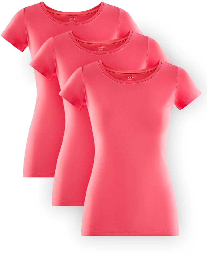 Футболка женская oodji Ultra, цвет: ярко-розовый, 3 шт. 14701005T3/46147/4D00N. Размер L (48)14701005T3/46147/4D00NКомплект из трех хлопковых футболок приталенного кроя с короткими рукавами. Горловина округлая. Мягкий и приятный на ощупь хлопковый трикотаж с добавлением эластана позволяет коже дышать, хорошо впитывает влагу и не вызывает раздражения. Футболки отлично сидят на любой фигуре. Базовые футболки прекрасно сочетаются с повседневной, домашней и спортивной одеждой. Их можно носить практически с чем угодно – с трикотажными брюками, джинсами, шортами, длинными и короткими юбками, сарафанами и комбинезонами. Эти футболки идеально подходят для спорта, отдыха и повседневного ношения. Комплект из трех штук удобен в путешествии и на отдыхе. Вам придется по душе практичность и качество этого комплекта!