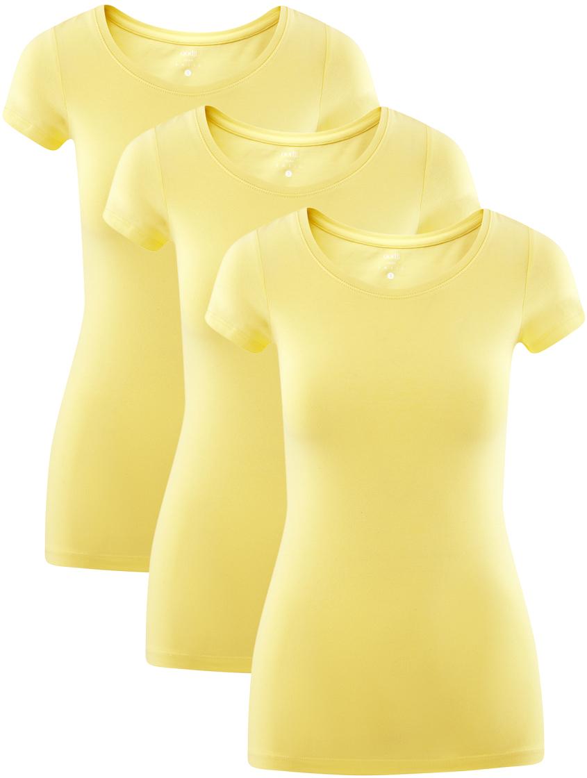 Футболка женская oodji Ultra, цвет: желто-зеленый, 3 шт. 14701005T3/46147/6700N. Размер M (46)14701005T3/46147/6700NКомплект из трех хлопковых футболок приталенного кроя с короткими рукавами. Горловина округлая. Мягкий и приятный на ощупь хлопковый трикотаж с добавлением эластана позволяет коже дышать, хорошо впитывает влагу и не вызывает раздражения. Футболки отлично сидят на любой фигуре. Базовые футболки прекрасно сочетаются с повседневной, домашней и спортивной одеждой. Их можно носить практически с чем угодно – с трикотажными брюками, джинсами, шортами, длинными и короткими юбками, сарафанами и комбинезонами. Эти футболки идеально подходят для спорта, отдыха и повседневного ношения. Комплект из трех штук удобен в путешествии и на отдыхе. Вам придется по душе практичность и качество этого комплекта!