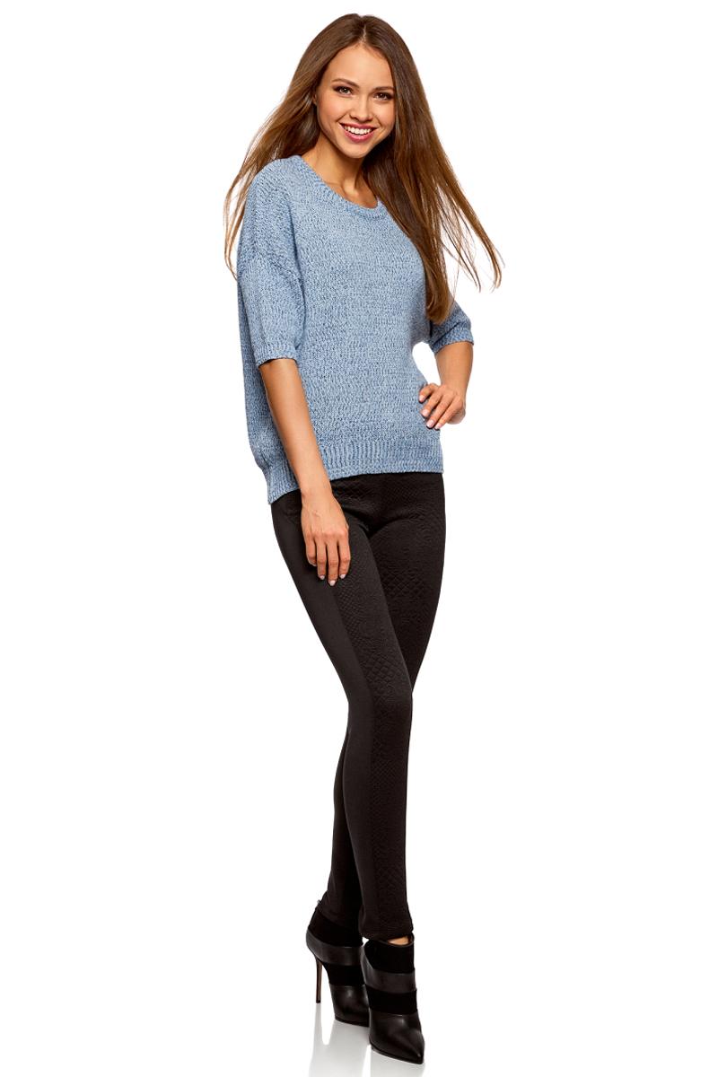 Брюки женские oodji Ultra, цвет: черный. 18602005/45344/2900N. Размер XS (42)18602005/45344/2900NКомбинированные легинсы со вставками из фактурной ткани. Модель с узким поясом, спереди два кармана. Фактурные вставки спереди смотрятся необычно и акцентируют внимание на ногах. Легинсы из эластичной ткани комфортны, не стесняют движений и не раздражают кожу. В них вам будет приятно ходить целый день. Стильные комбинированные легинсы станут отличной альтернативой джинсам skinny. С ними вы сможете создать соблазнительные и комфортные образы на каждый день. Такие легинсы хорошо сочетаются с блузками, рубашками, свитшотами и кардиганами. Если вы хотите подчеркнуть фигуру, легинсы можно надеть с укороченным верхом. А чтобы в своем образе привлечь внимание к ногам, верх стоит подобрать более свободного или прямого силуэта. Красивые легинсы для эффектных образов на каждый день!