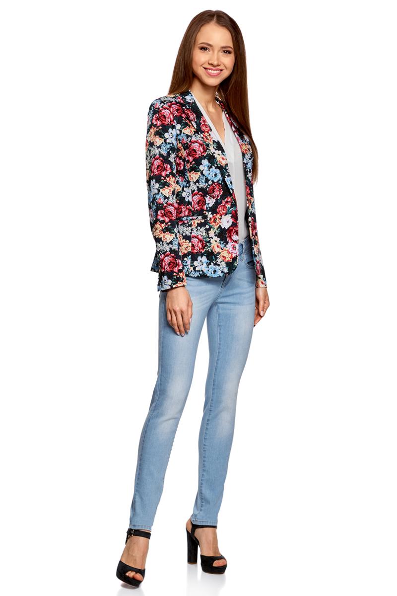 Жакет женский oodji Collection, цвет: темно-синий, красный. 21203064-5B/14522/7945F. Размер 42-170 (48-170)21203064-5B/14522/7945F