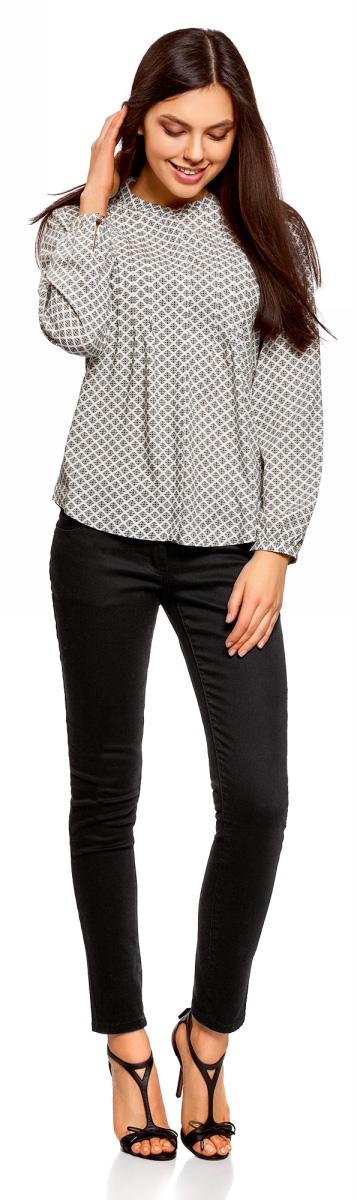 Блузка женская oodji Collection, цвет: белый, бежевый. 21411121/47075N/1233E. Размер 46-170 (52-170)21411121/47075N/1233E