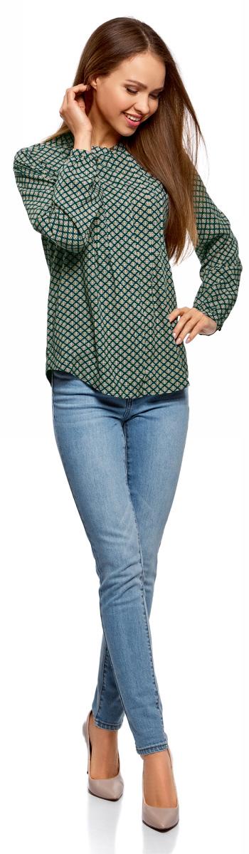 Блузка женская oodji Collection, цвет: изумрудный, белый. 21411121/47075N/6D12E. Размер 42-170 (48-170)21411121/47075N/6D12E