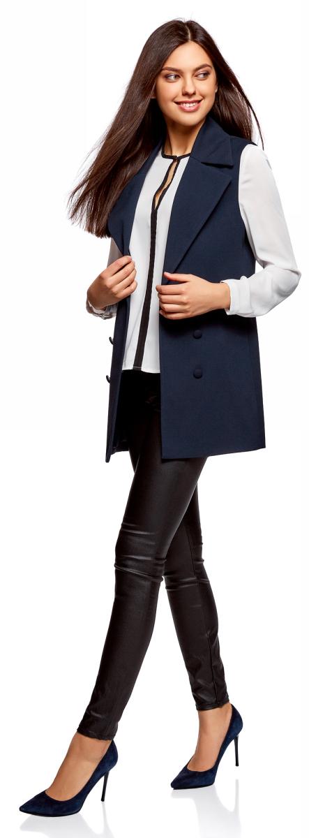 Жилет женский oodji Collection, цвет: темно-синий. 22305001-1B/31291/7901N. Размер 40-170 (46-170)22305001-1B/31291/7901N
