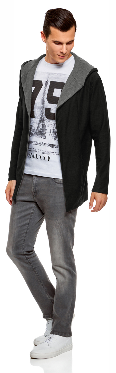 Кардиган мужской oodji Lab, цвет: черный, темно-серый. 5L800035M/47078N/2925B. Размер XS (44)5L800035M/47078N/2925B