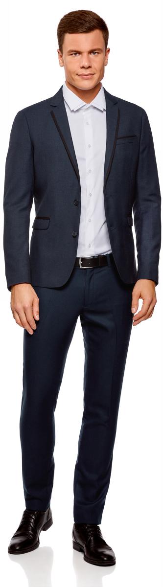 Пиджак мужской oodji Lab, цвет: темно-синий, черный. 2L420202M/47087N/7929O. Размер 50-182 (50-182)2L420202M/47087N/7929O