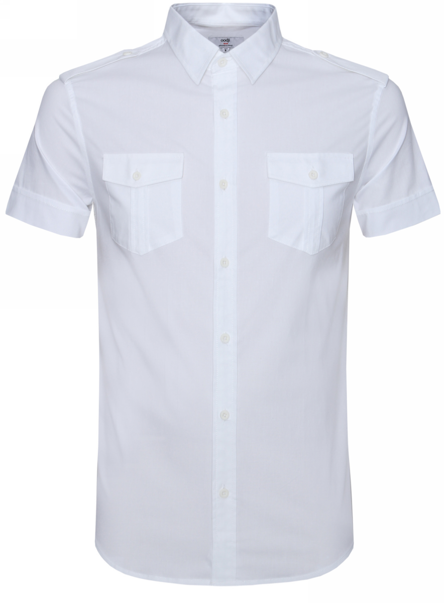 Рубашка мужская oodji Lab, цвет: белый. 3L410094M/23453N/1000N. Размер XL-182 (56-182)3L410094M/23453N/1000NРубашка с короткими рукавами и нагрудными карманами. Воротник классический, на плечах декоративные погоны на пуговицах. Рубашка с погонами – всегда беспроигрышный вариант, если вы хотите надеть что-то менее официальное и классическое. Накладные карманы выполняют скорее декоративную функцию. Не стоит нагружать их разными предметами. Рубашка прямого силуэта, слегка приталенная. Ее можно носить заправленной или навыпуск. Такая модель идет мужчинам разной комплекции и роста. Элегантная рубашка – прекрасный вариант для базового гардероба. Ее можно использовать при создании делового или повседневного лука. Рубашка сочетается с прямыми и зауженными брюками, хорошо смотрится с джинсами. В жаркие дни рубашку можно надеть с шортами до колен. В таком образе можно отправиться на вечеринку или загородный отдых.