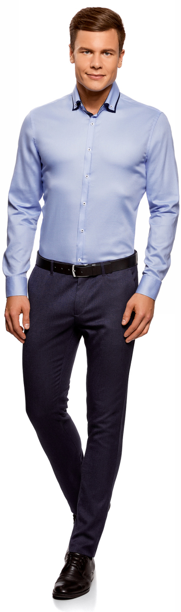 Рубашка мужская oodji Lab, цвет: голубой. 3L110267M/47120N/7000B. Размер 40-182 (48-182)3L110267M/47120N/7000B