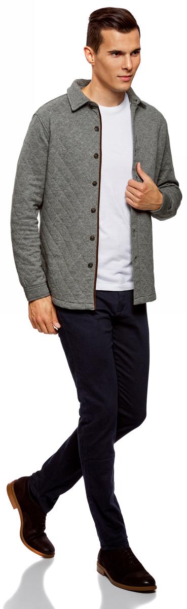 Рубашка мужская oodji Lab, цвет: темно-серый меланж. 5L902005M/47164N/2500M. Размер L (52/54)5L902005M/47164N/2500M