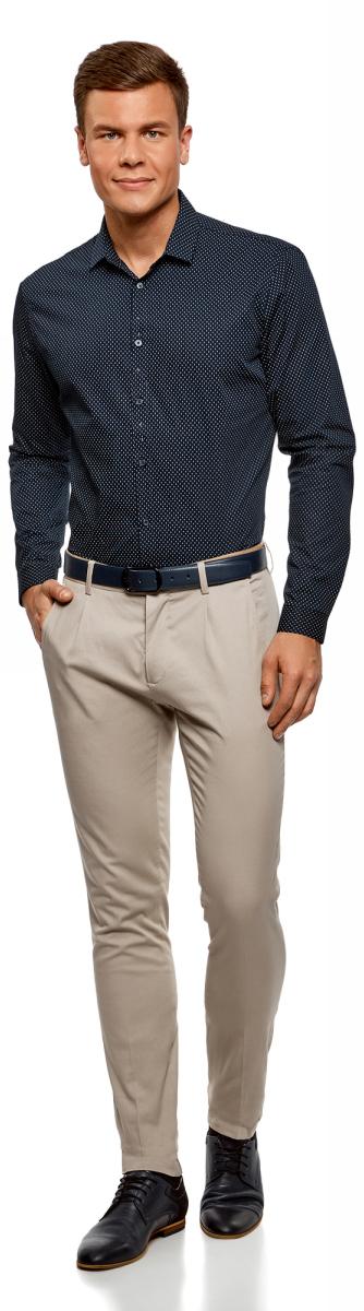 Рубашка мужская oodji Lab, цвет: темно-синий, белый. 3L110265M/44425N/7910G. Размер 40-182 (48-182)3L110265M/44425N/7910G