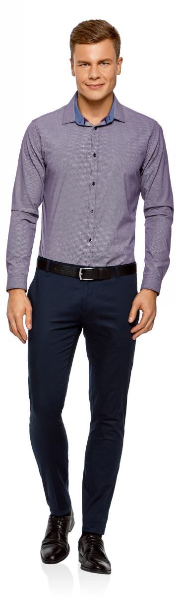 Рубашка мужская oodji Lab, цвет: фиолетовый, белый. 3L110279M/19370N/8310G. Размер 38-182 (44-182)3L110279M/19370N/8310G