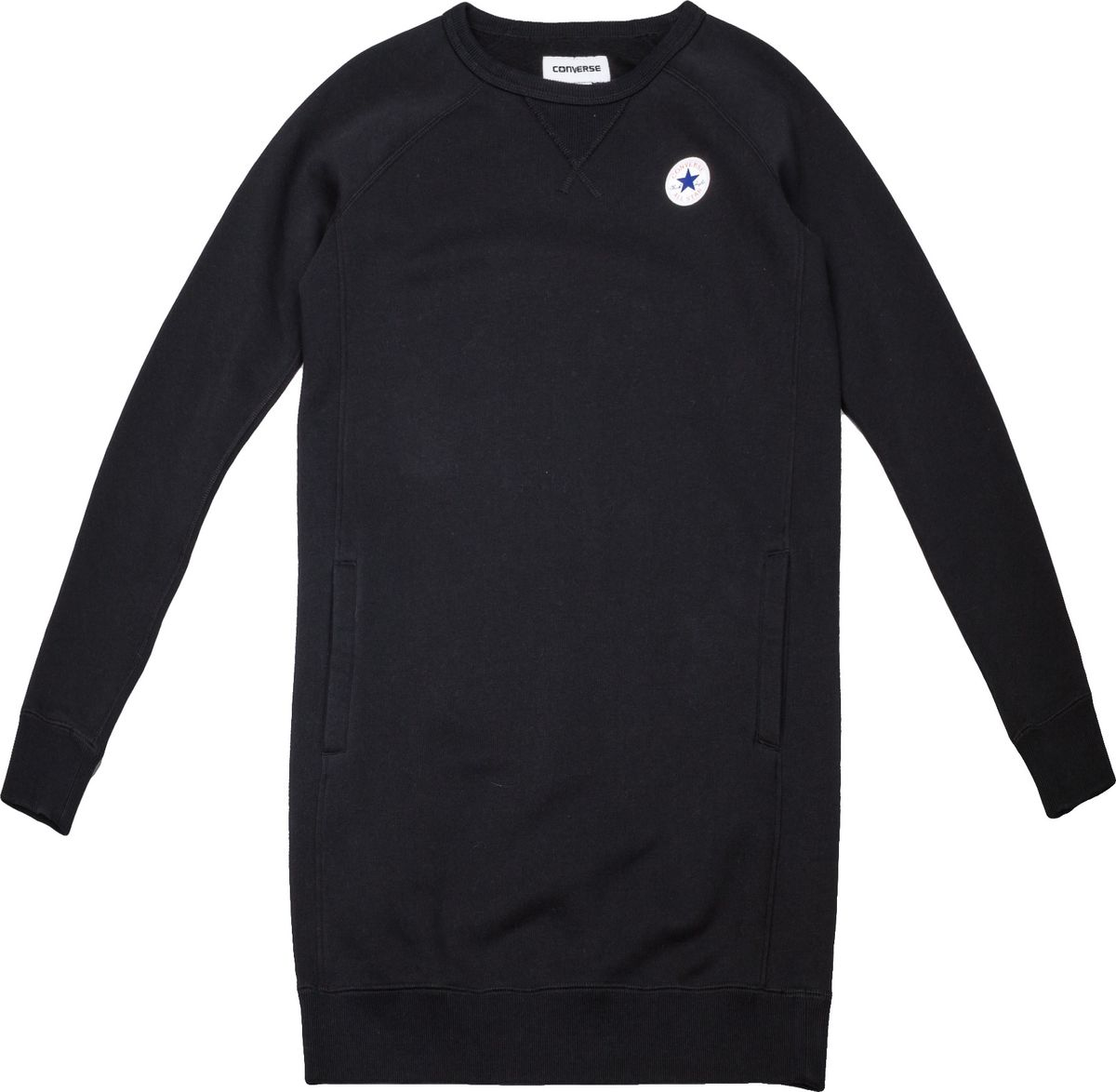 Платье женское Converse Core Sweatshirt Dress, цвет: черный. 10004545001. Размер XL (50)10004545001