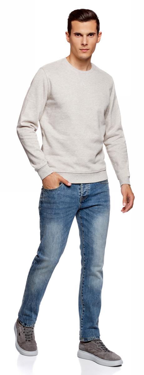 Свитшот мужской oodji Basic, цвет: белый меланж. 5B113001M-3/47836N/1200M. Размер L (52/54)5B113001M-3/47836N/1200M