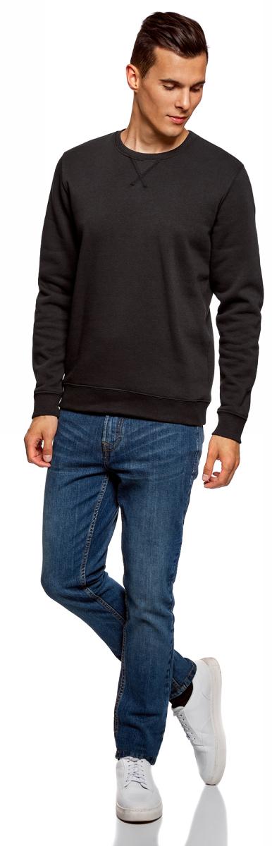Свитшот мужской oodji Basic, цвет: черный. 5B113001M-1/44396N/2900N. Размер XS (44)5B113001M-1/44396N/2900N