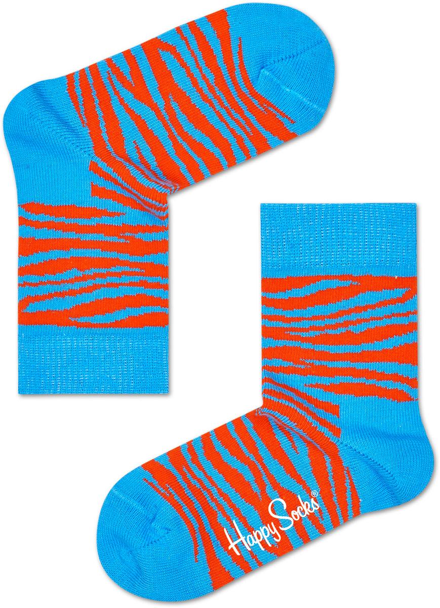 Носки детские Happy socks, цвет: голубой, оранжевый. KZEB01. Размер 20, 7-9 летKZEB01