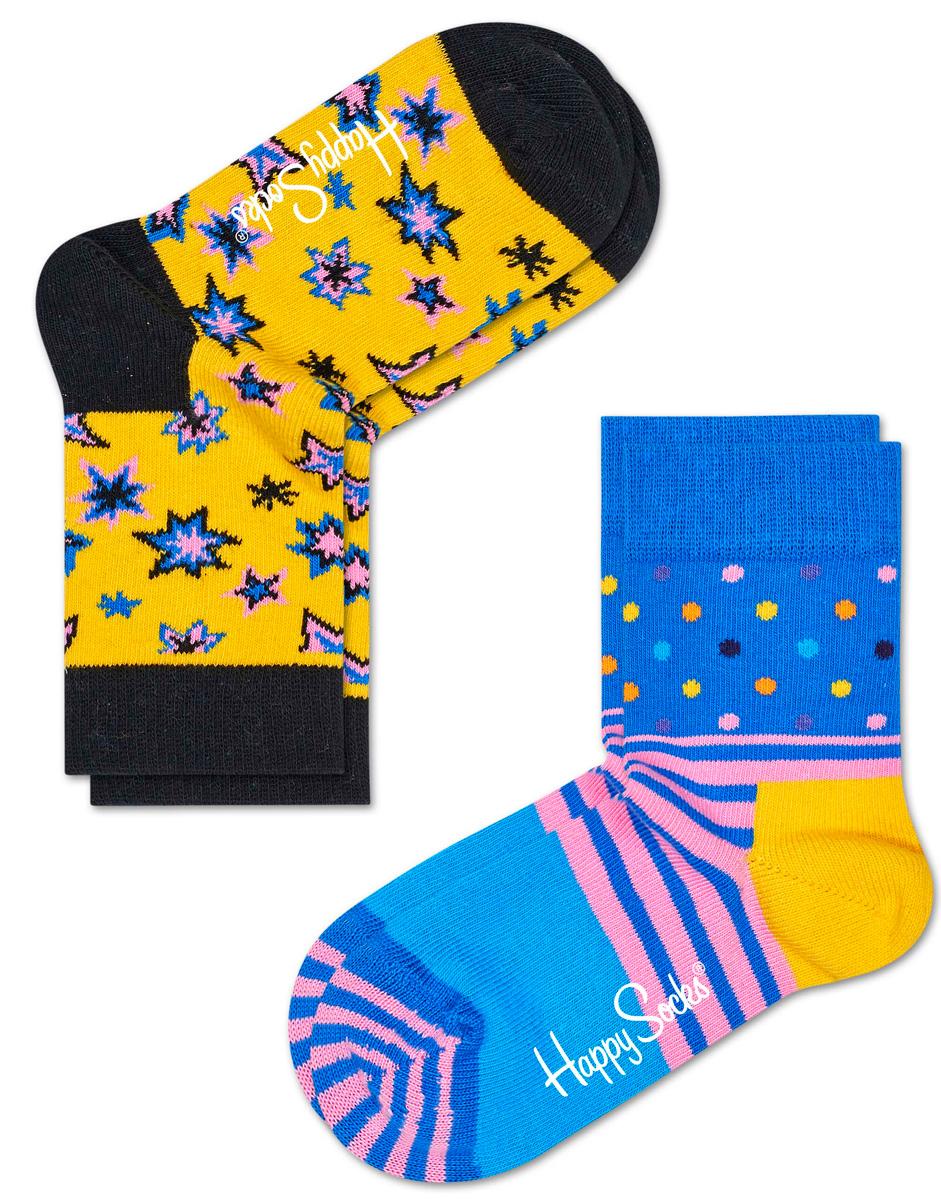 Носки детские Happy socks, цвет: желтый, голубой. KBNG02. Размер 18, 4-6 летKBNG02