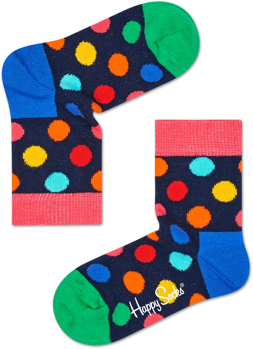 Носки детские Happy socks, цвет: темно-синий, мультиколор. KBDO01. Размер 14, 1-2 годаKBDO01