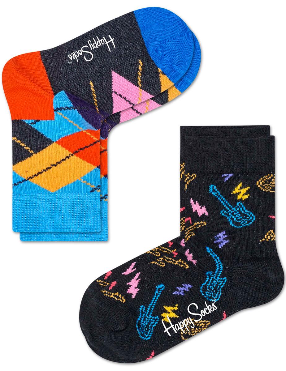 Носки детские Happy socks, цвет: черный, мультиколор. KGUI02. Размер 20, 7-9 летKGUI02