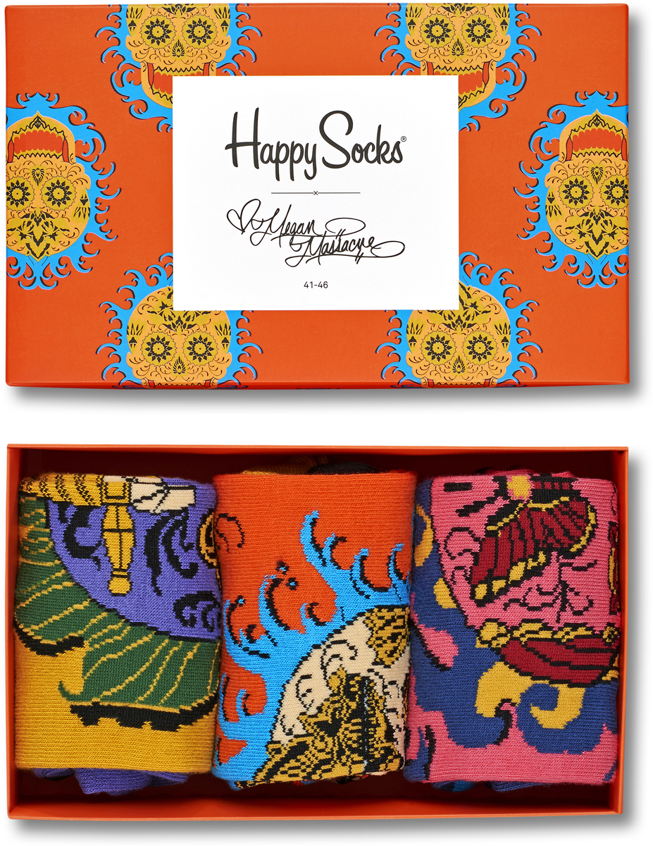 Носки женские Happy socks, цвет: мультиколор. XMEG08. Размер 25XMEG08