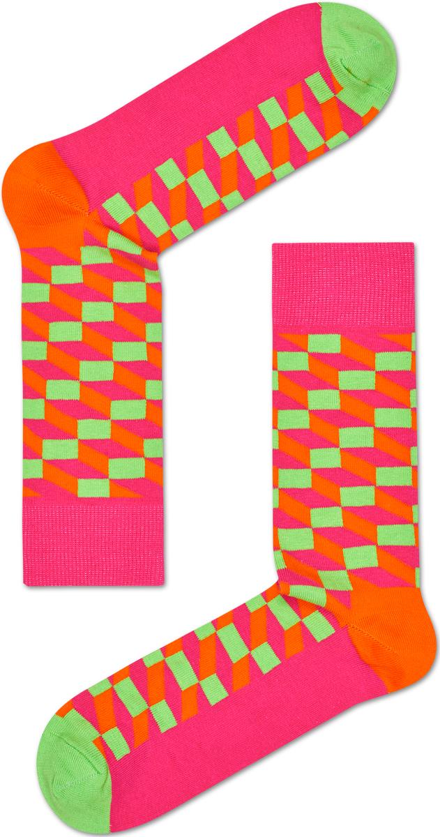 Носки женские Happy socks, цвет: розовый, оранжевый. FIO01. Размер 25FIO01