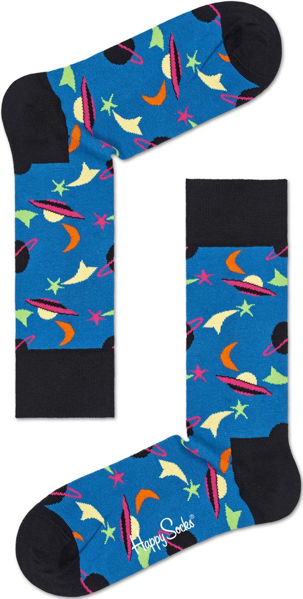 Носки женские Happy socks, цвет: бирюзовый, черный. SPA01. Размер 25SPA01