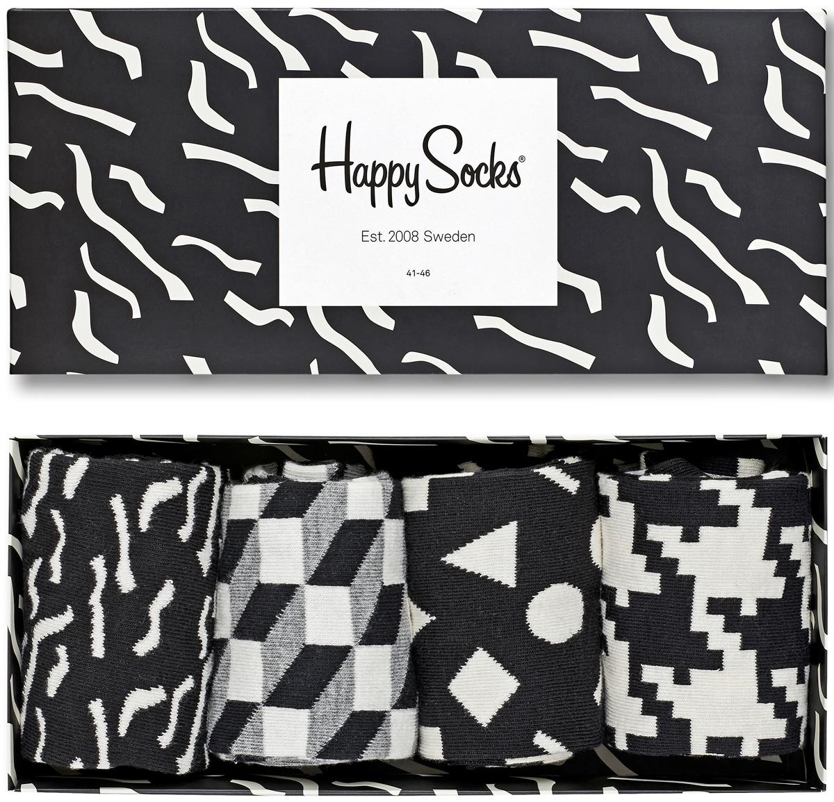Носки женские Happy socks, цвет: черный, белый. XBLW09. Размер 25XBLW09