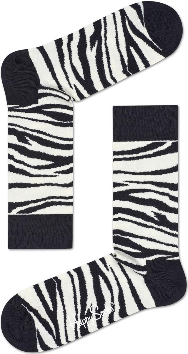 Носки женские Happy socks, цвет: черный, белый. ZEB01. Размер 25ZEB01