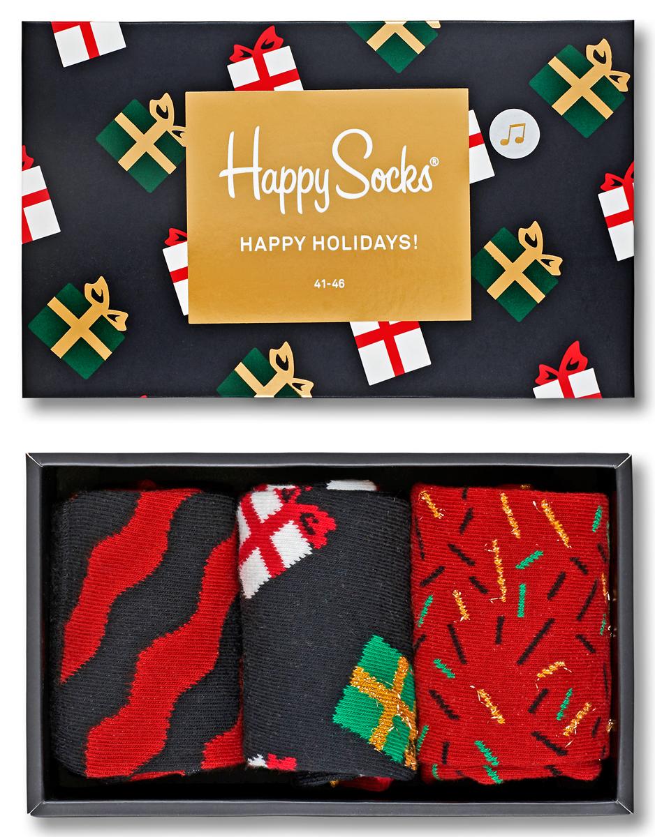 Носки женские Happy socks, цвет: черный, красный. XMAS08. Размер 25XMAS08