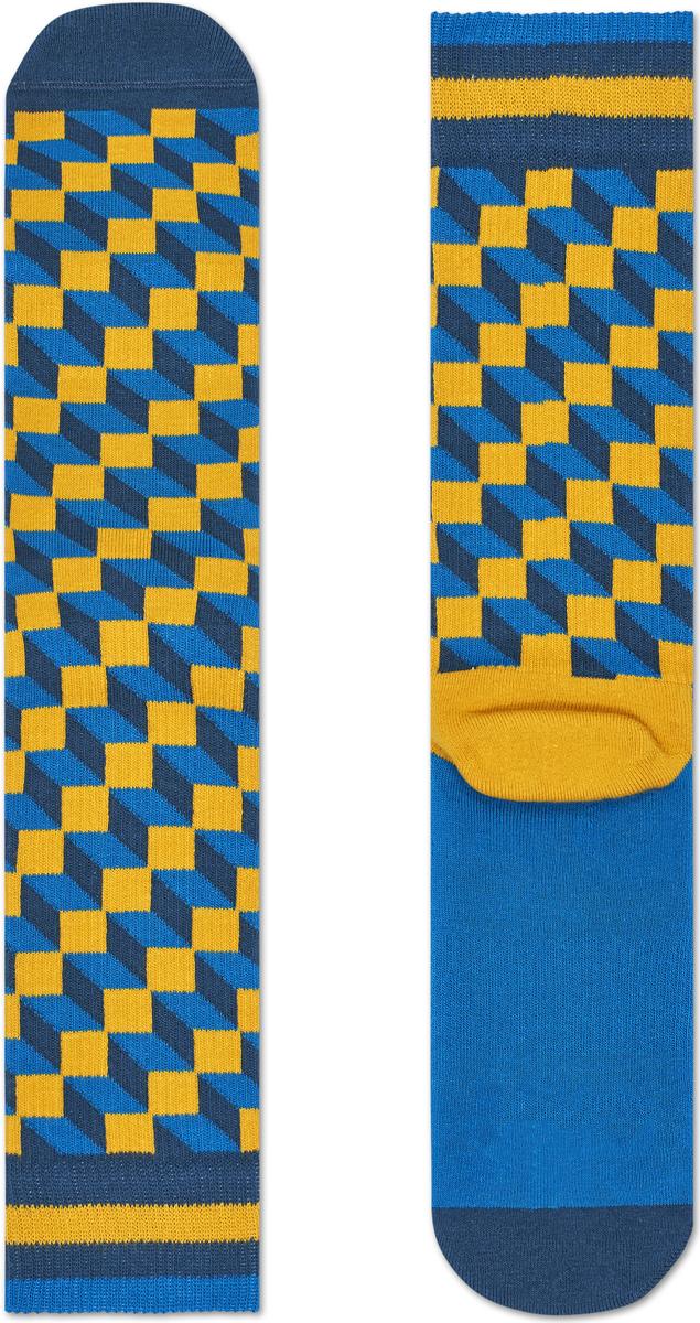 Носки мужские Happy socks, цвет: голубой, желтый. ATFIO27. Размер 29ATFIO27