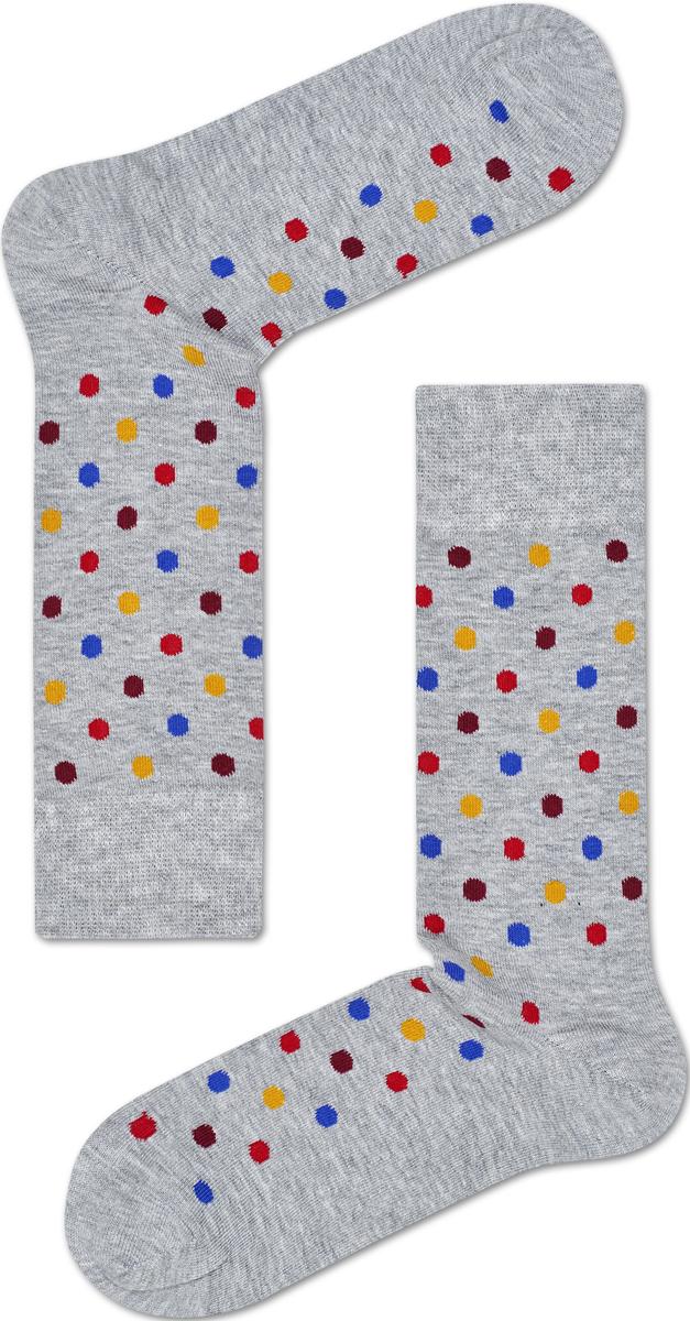 Носки мужские Happy socks, цвет: светло-серый, мультиколор. DOT01. Размер 29DOT01