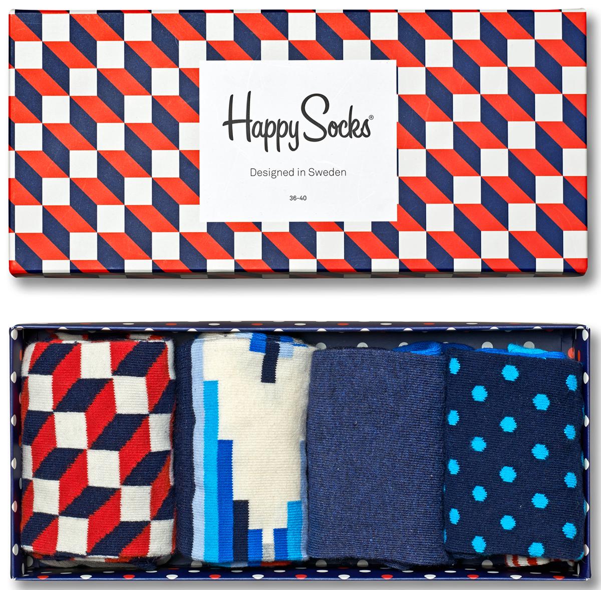 Носки мужские Happy socks, цвет: темно-синий, мультиколор. XFO09. Размер 29XFO09