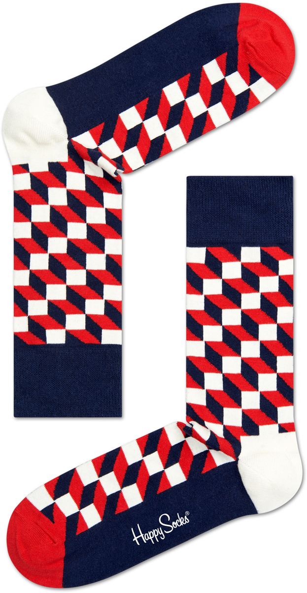 Носки мужские Happy socks, цвет: темно-синий, красный. FO01. Размер 29FO01